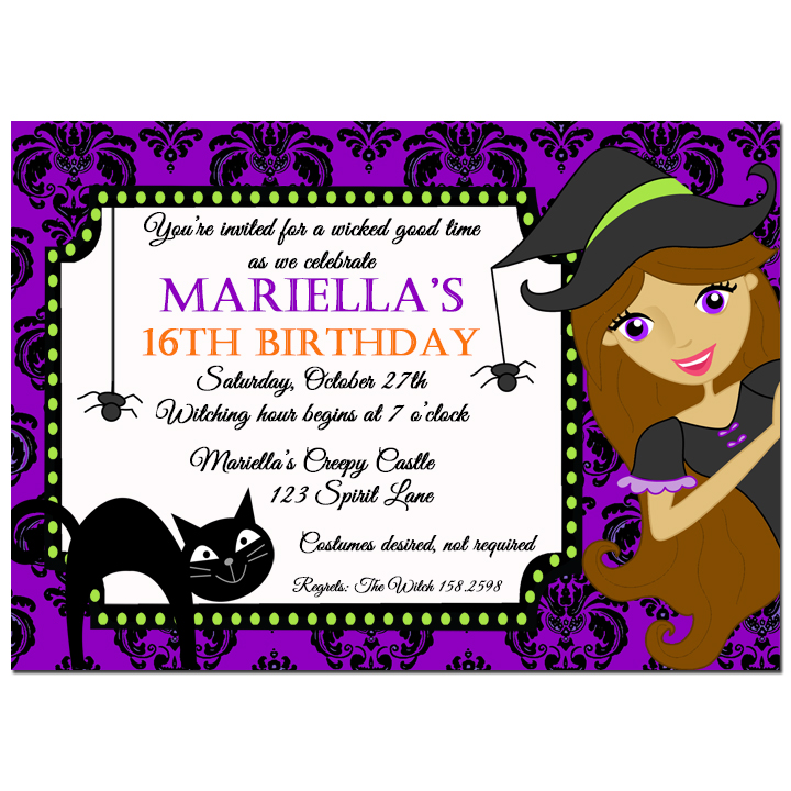 Halloween Witch Purple Damask - Purple Damask Collection