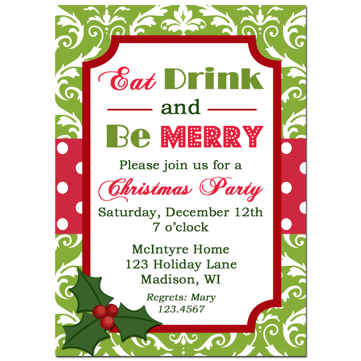 Green Damask Red Dot Holiday - Eat, Drink, and Be Merry