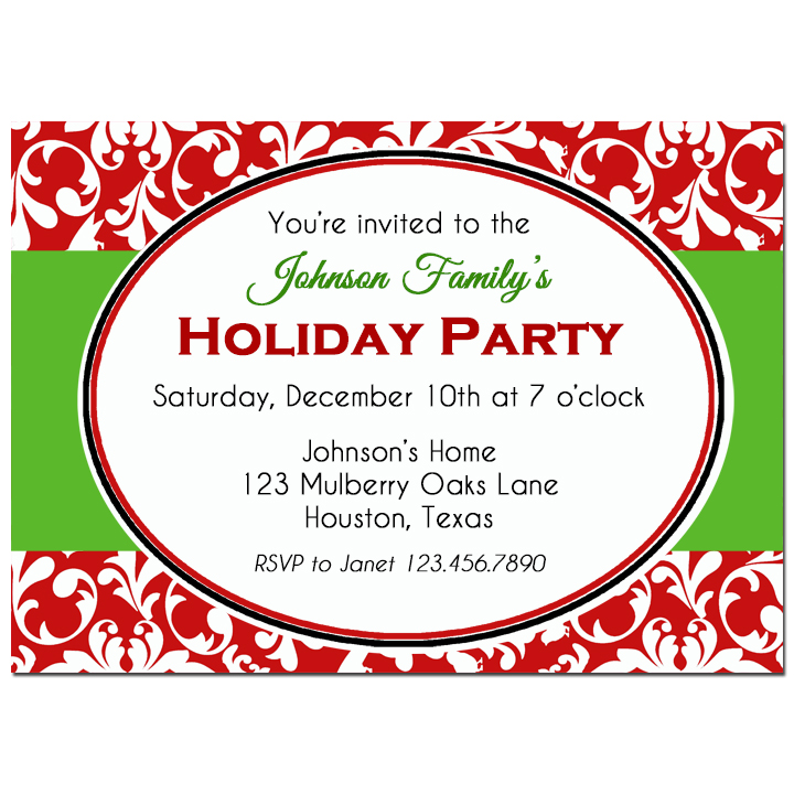 Red Damask and Green Holiday Party Collection