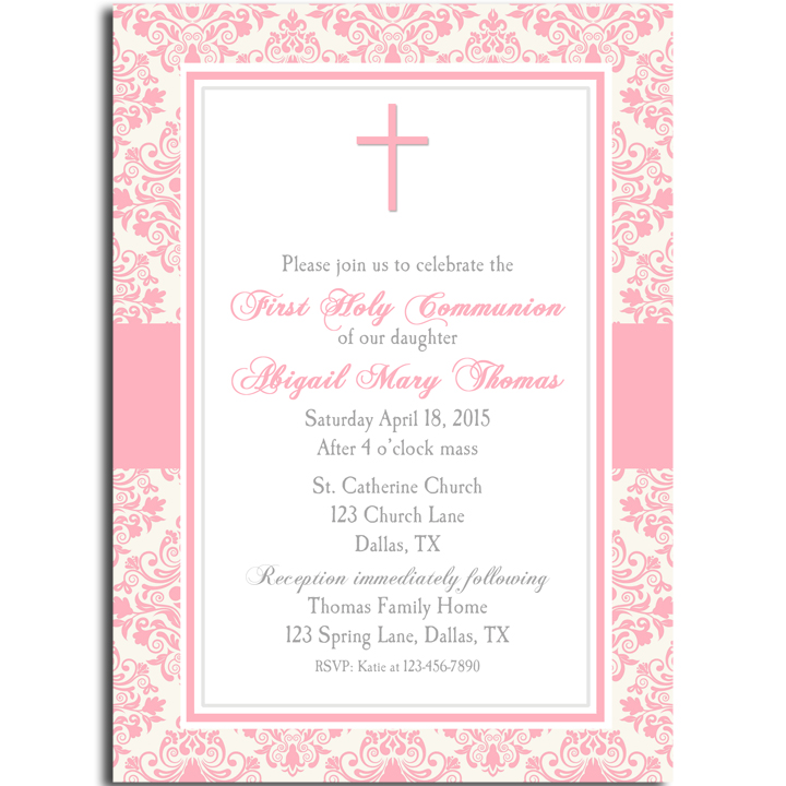 Communion Cross Pink Damask
