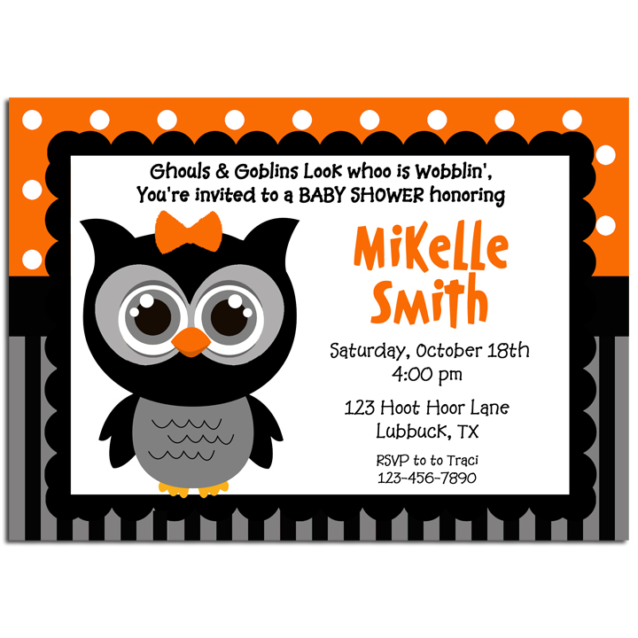 Halloween Girl Owl - Orange Dot Stripe