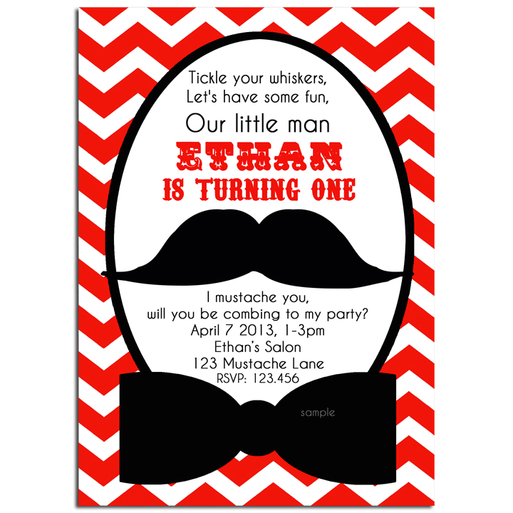 Mustache Bash - Red Chevron
