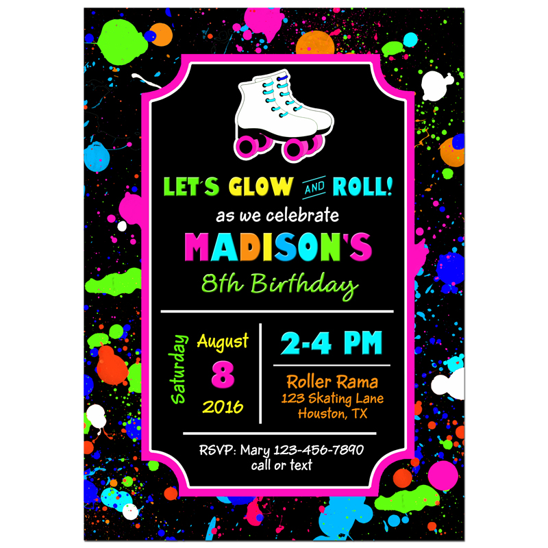 Girl's Neon Roller Skating
