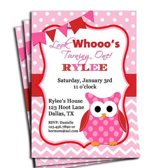 Pink Owl Chevron Dot