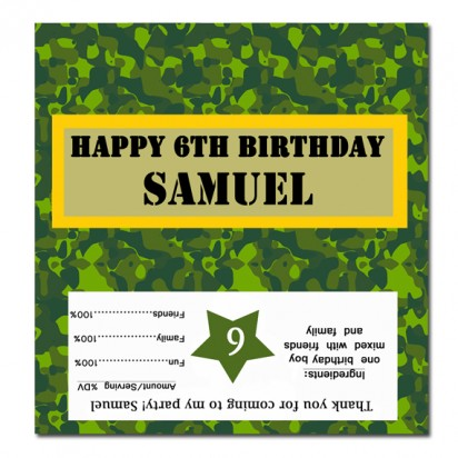 Camouflage Military Candy Bar Wrappers