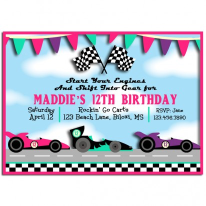 Girls Racing Cars or Go Karts Party Invitation Girls Lets Race