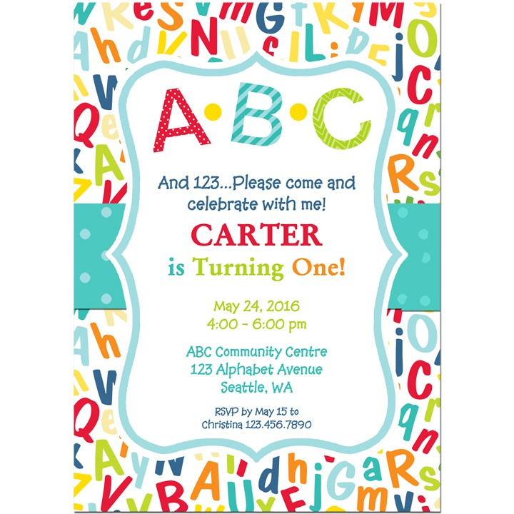 ABC 123 Birthday Party Invitation by That Party Chick ABC Collection