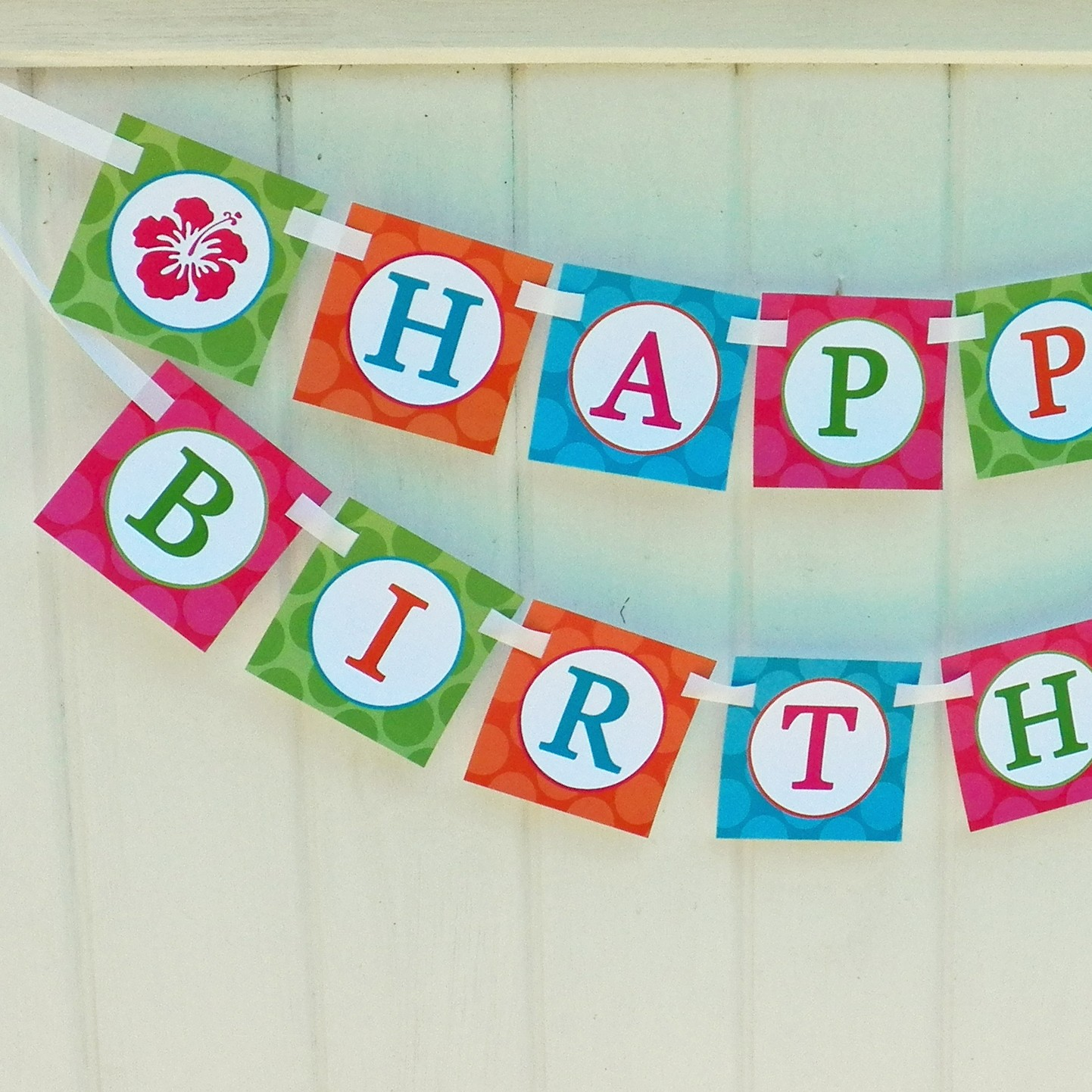 """Luau """"Happy Birthday"""" Banner By That Party Chick"""