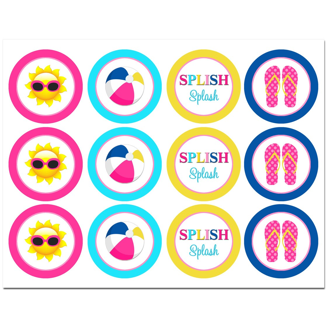 Splash Pool Party Cupcake Toppers By That Party Chick