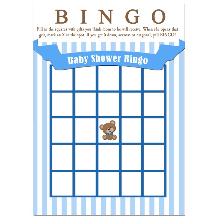 Blue Teddy Bear Baby Shower Bingo By That Party Chick