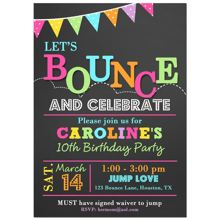Bounce House Party Invitation by That Party Chick - Bounce Flags ...