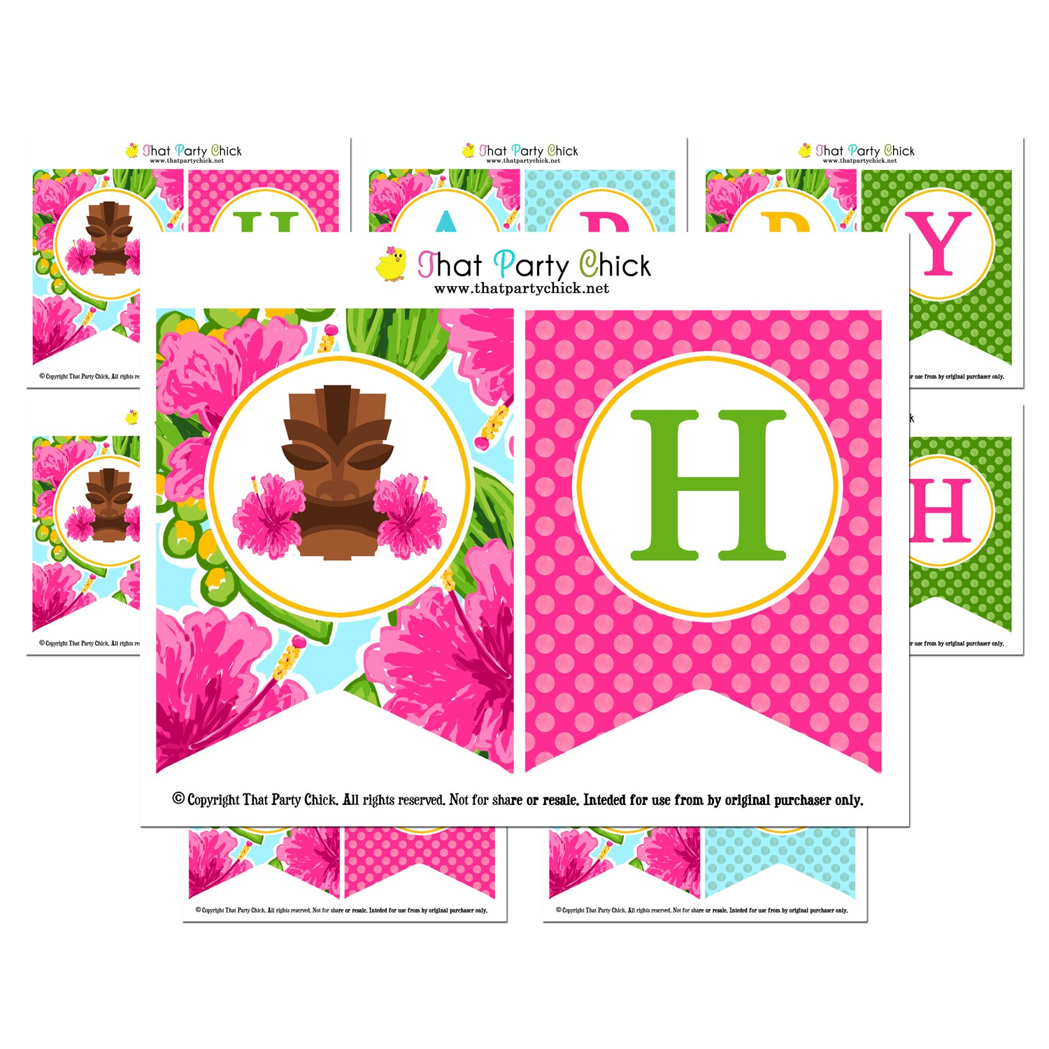 """Luau Pink Hibiscus """"Happy Birthday"""" Banner By That Party"""
