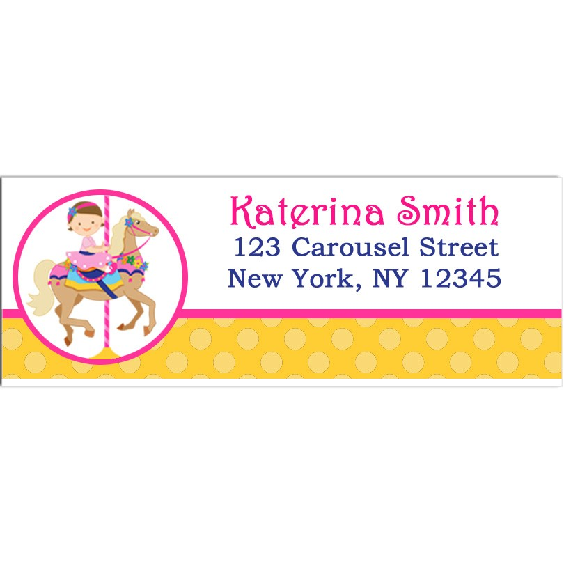 girl s carousel birthday party return address labels by that party chick