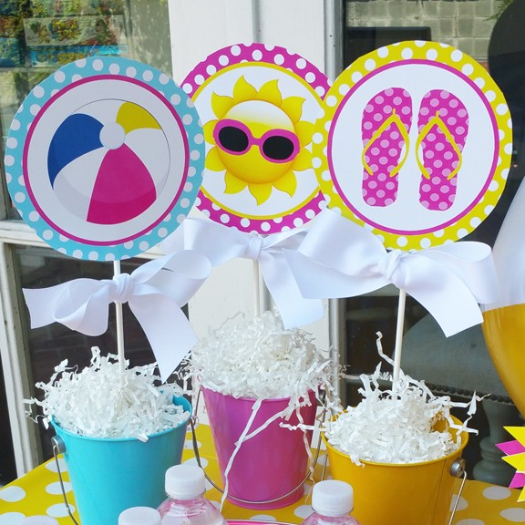 Splash Pool Party Centerpiece Toppers by That Party Chick Splish