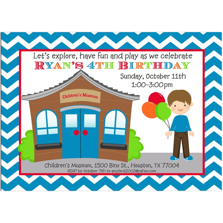 Royal Blue Children\'s Museum Party Invitation by That Party Chick