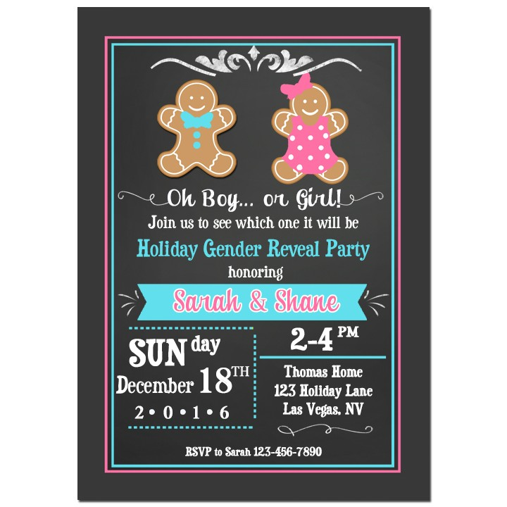 Gingerbread Kids Gender Reveal Party Invitation by That Party ...