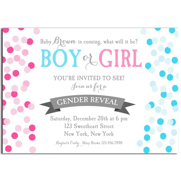 gender reveal boy or girl party invitation by that party chick