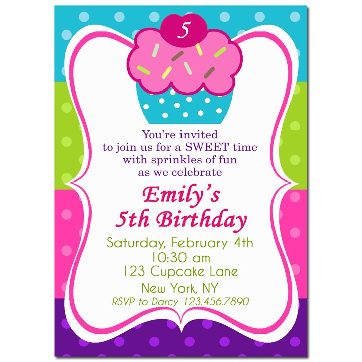 Cupcake with Sprinkles Birthday Party Invitation by That Party Chick ...