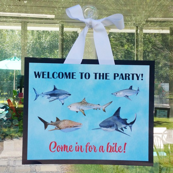 Shark Party Welcome Door Sign   Shark Reef