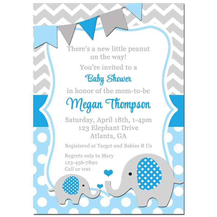 Blue Elephant Baby Shower Invitation by That Party Chick