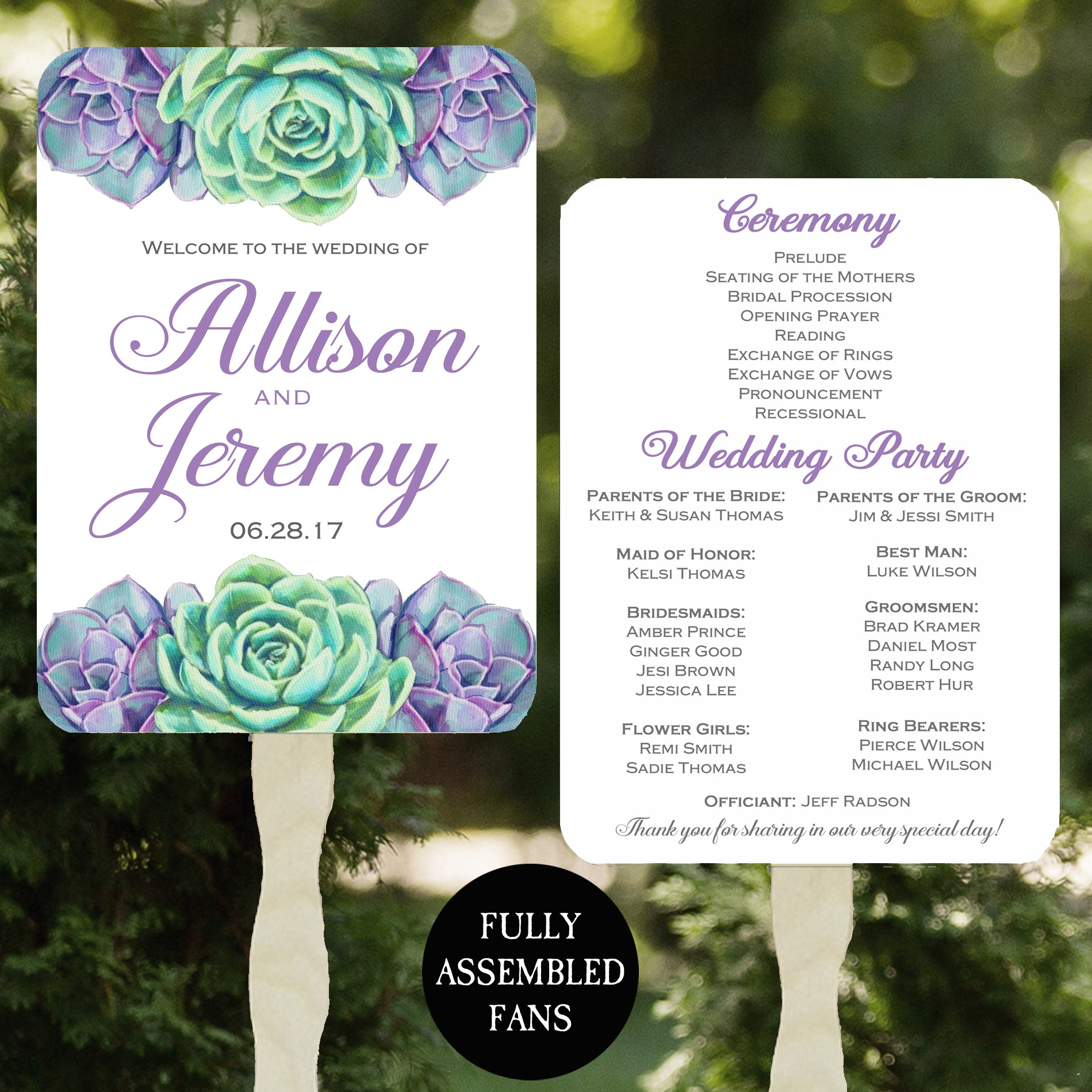 Succulent Wedding Program Fan by That Party Chick