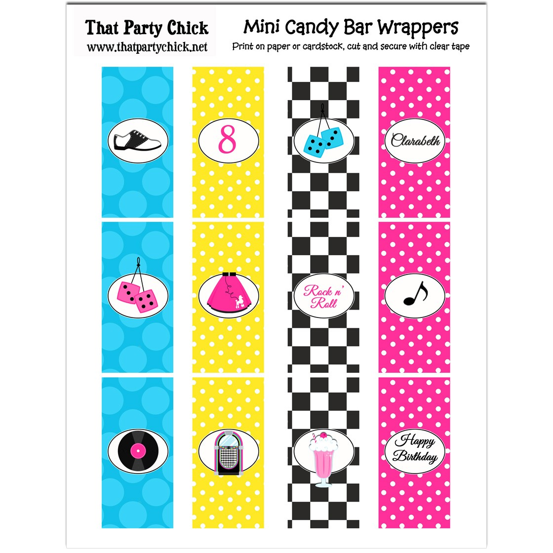 fifties 50s sock hop mini chocolate candy bar wrappers by that