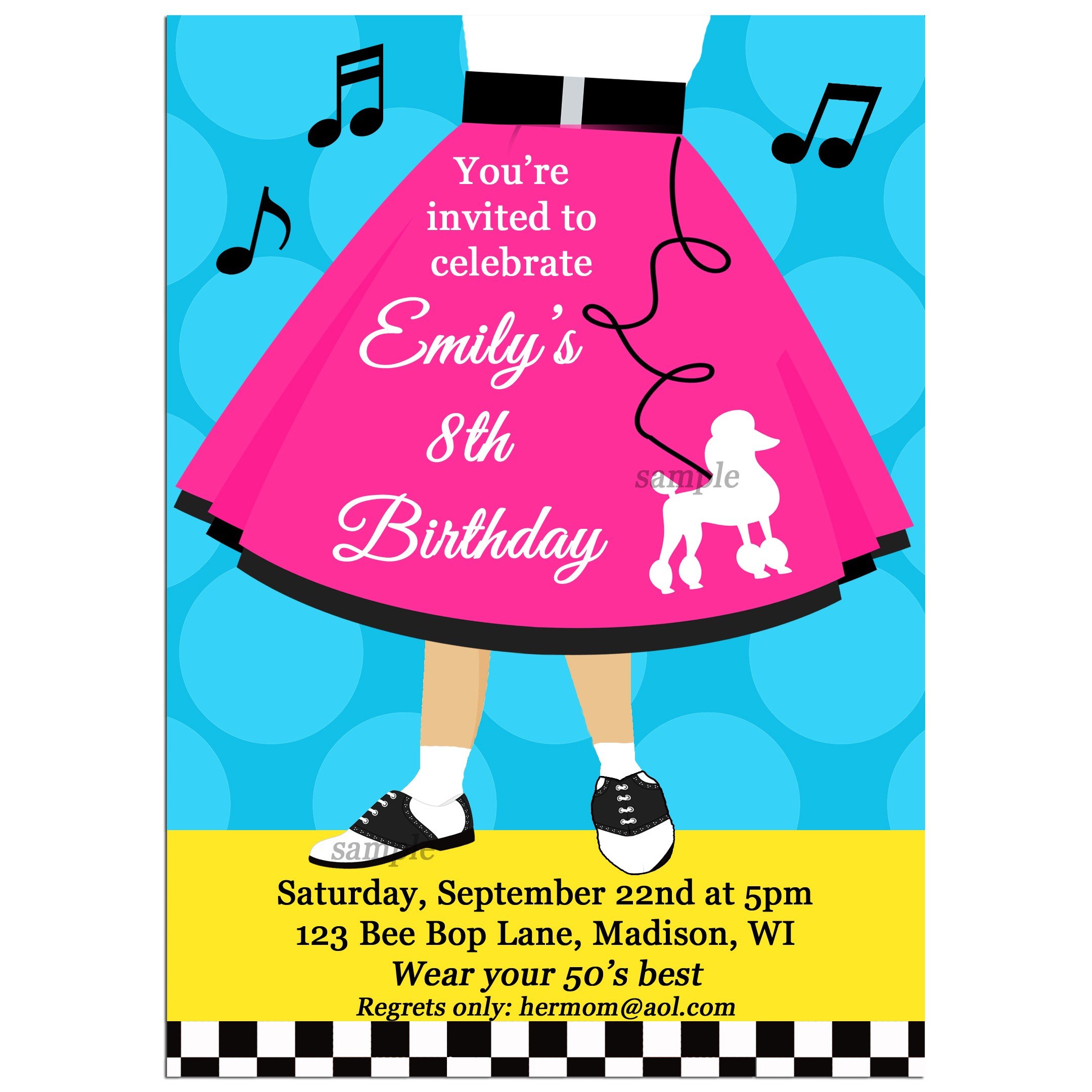 Fifties Sock Hop Party Invitation by That Party Chick - Poodle Skirt