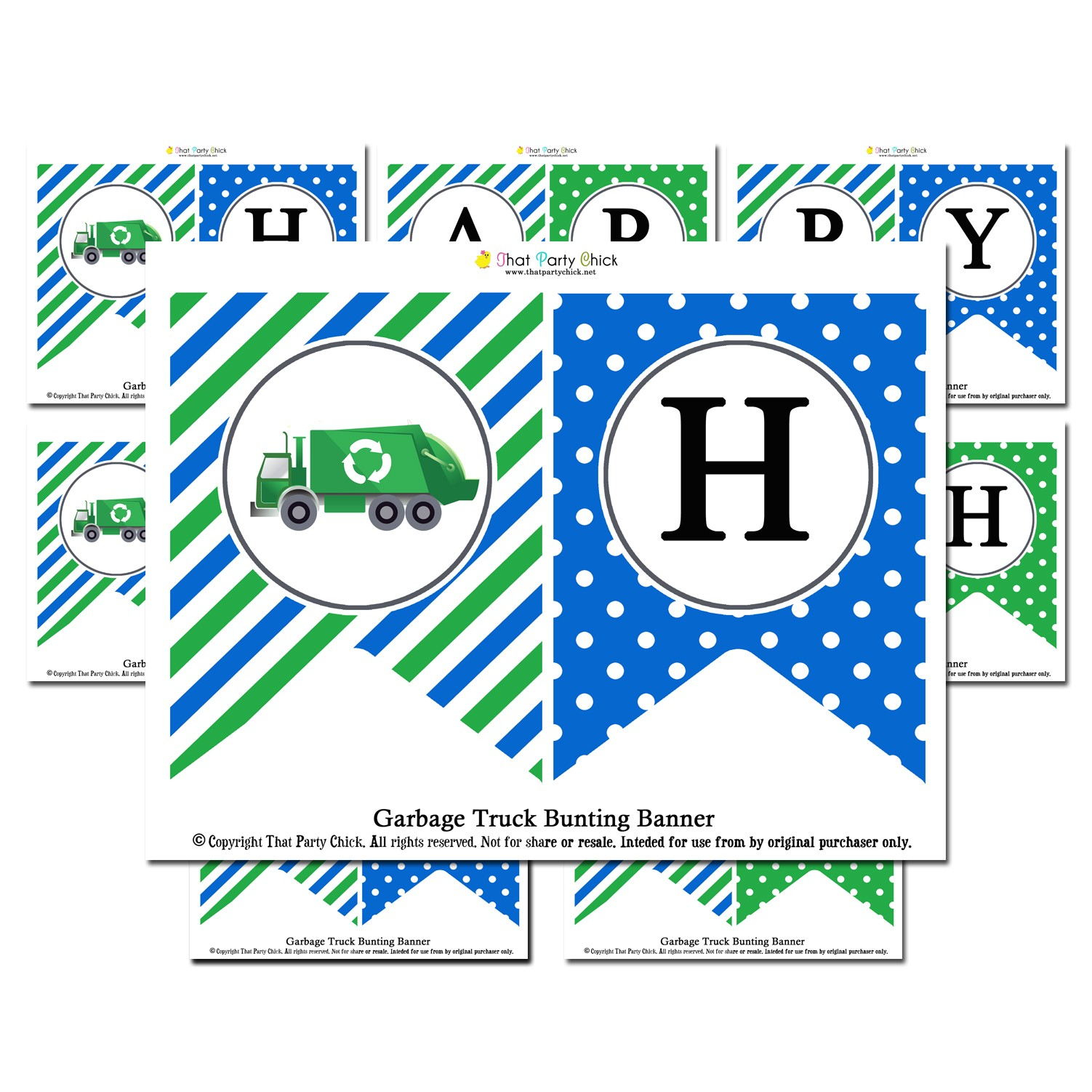 Garbage Recycle Truck Quot Happy Birthday Quot Banner By That