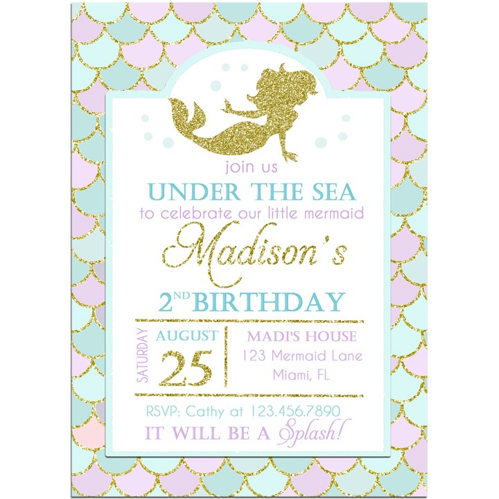 Gold Mermaid Birthday Party Invitation by That Party Chick - Glitter ...