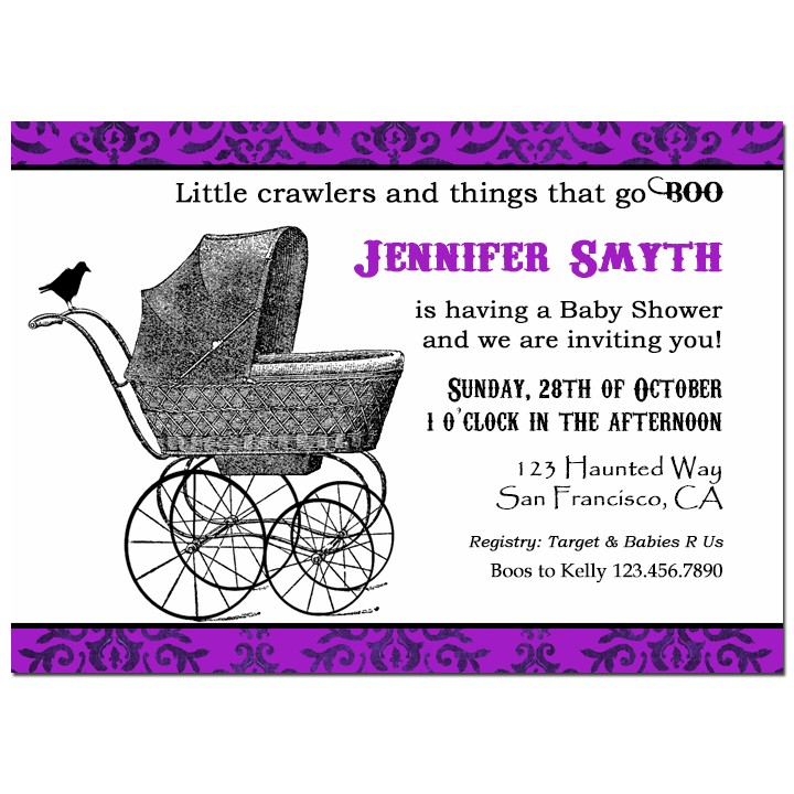 Halloween baby buggy shower invitation by that party chick vintage halloween baby buggy shower invitation filmwisefo