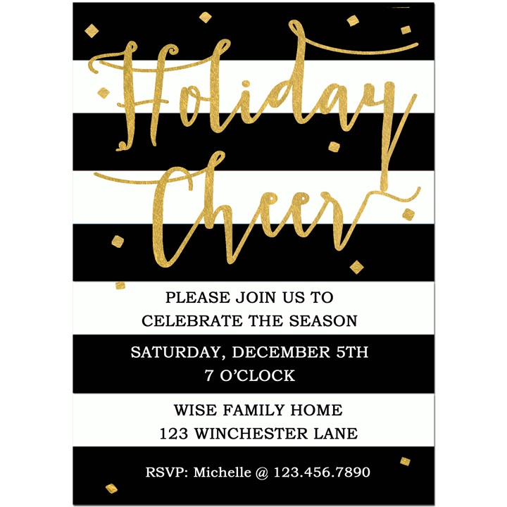 Holiday Cheer Black Stripe Invitation by That Party Chick Holiday