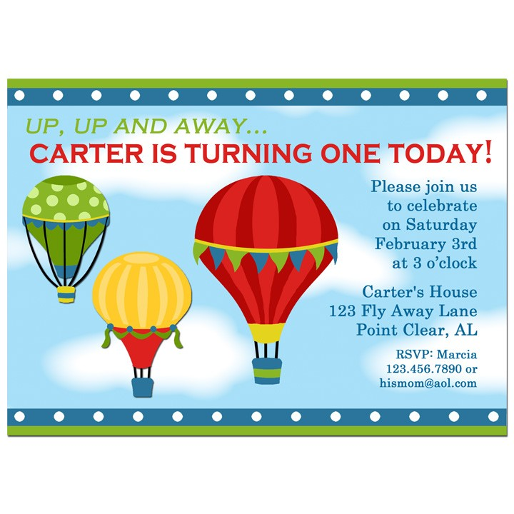 Hot Air Balloon Boy Party Invitation by That Party Chick