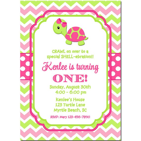Girl turtle baby shower or birthday party invitation by that party girls turtle birthday or baby shower invitation filmwisefo