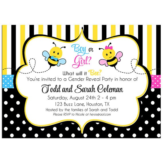 Bee Gender Reveal or Twin Birthday Party Invitation by That Party