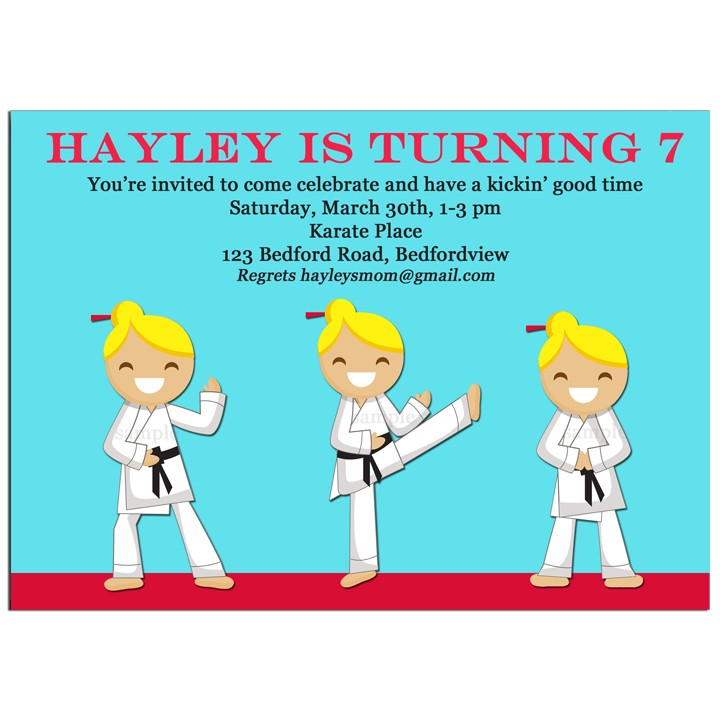 Karate Girl Party Invitation - Girl\'s Karate Chop Kick Collection by ...
