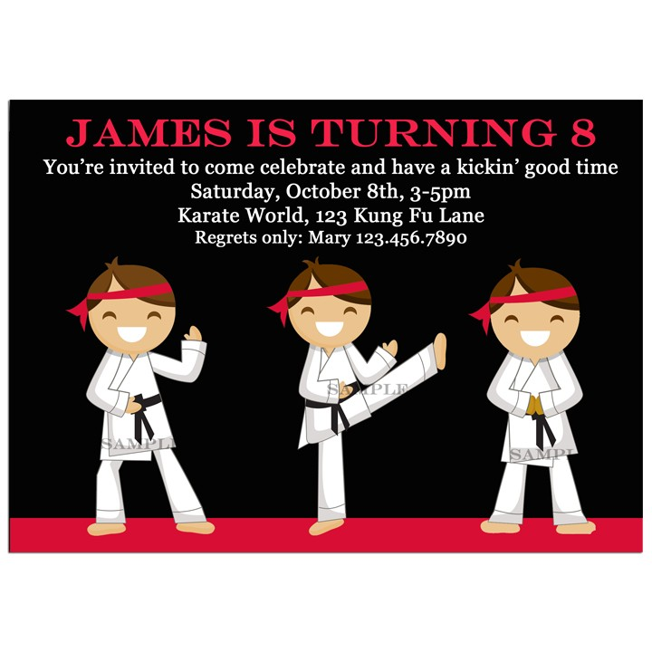 Karate Party Invitation - Boy\'s Karate Chop Kick Collection by ...