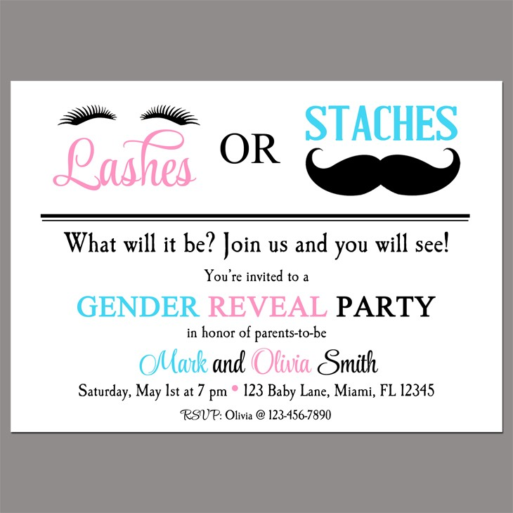 Gender Reveal Party Invitation by That Party Chick Lashes or Staches