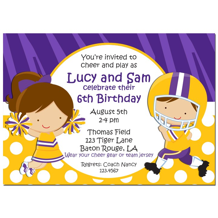 Cheerleader Football Player Party Invitation by That Party Chick – Cheerleading Birthday Party Invitations