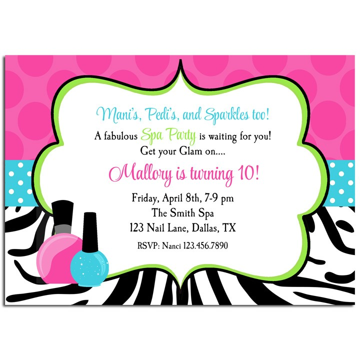 Mani pedi spa birthday party invitation by that party chick zebra mani pedi spa party invitation stopboris Image collections