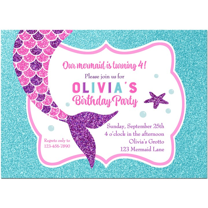 Mermaid Sparkle Birthday Party Invitation by That Party Chick - Pink ...