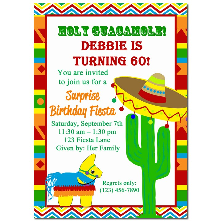 Fiesta Party Invitation by That Party Chick - Sombrero Collection Cactus