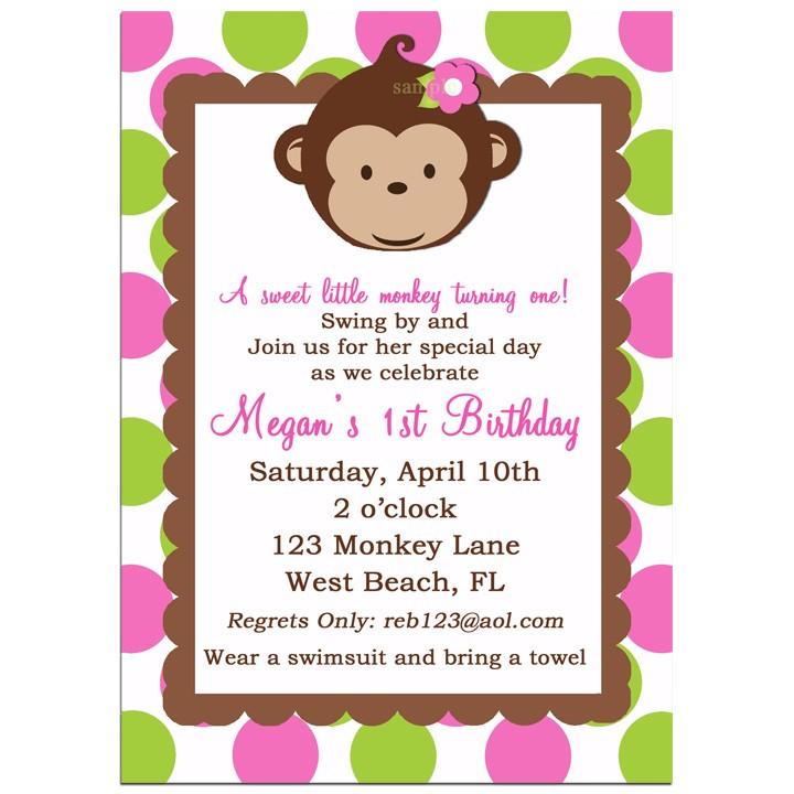 Mod monkey girl birthday party invitation by that party chick monkey girl invitation filmwisefo