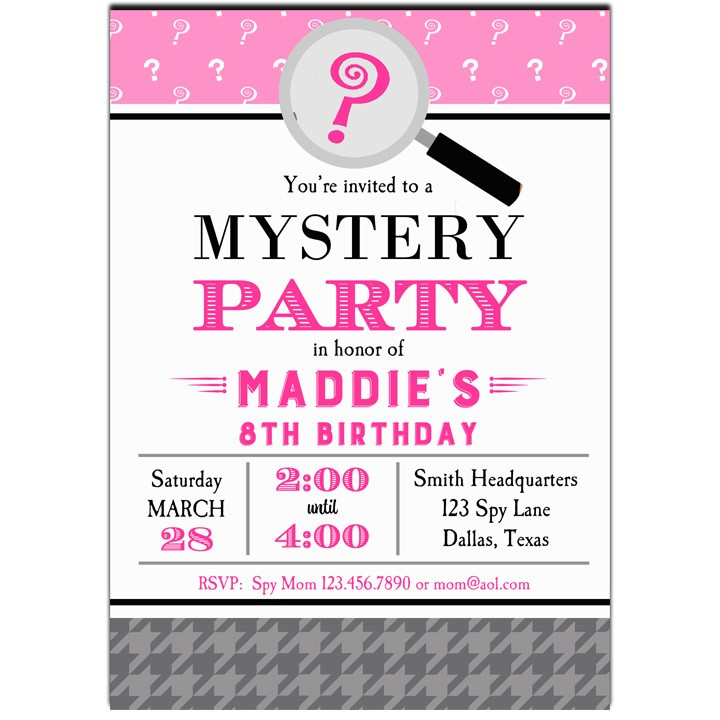 Girls Mystery Detective Spy Party Invitation by That Party Chick – Spy Party Invitation