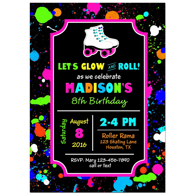 Girl\'s Roller Skate Party Invitation by That Party Chick - Neon ...