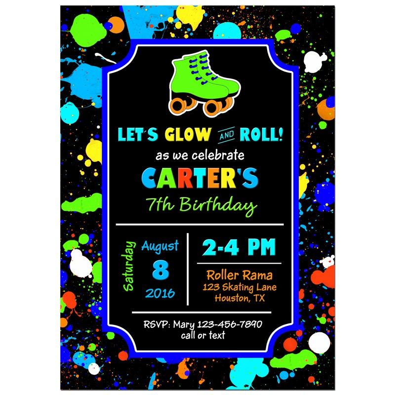 Boy\'s Roller Skate Party Invitation by That Party Chick - Neon ...