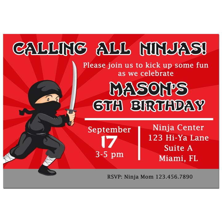 Ninja Party Invitation by That Party Chick