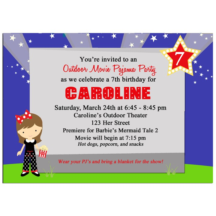 Outdoor Movie Birthday Party Invitation by That Party Chick