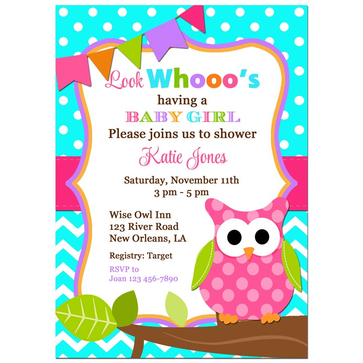 girl and purple chevron invitations shower gray owl grey baby personalized shop