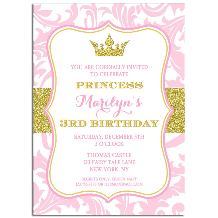 Princess Tiara Party Invitation by That Party Chick - Pink and Gold ...