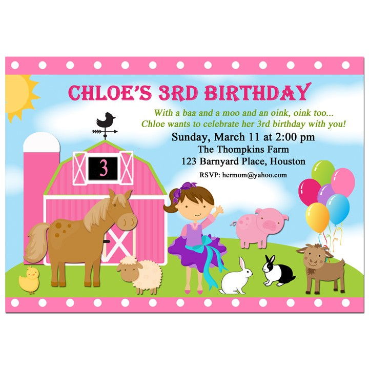 Barnyard Farm Animals Party Invitation by That Party Chick - Pink ...